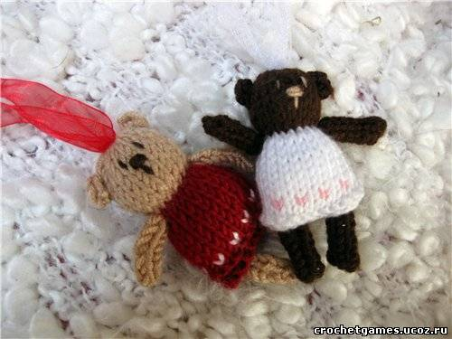 Игрушки вязание спицы мишка.